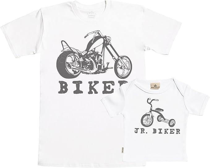 dans Notre Bo/îte-Cadeau Cadeau pour Un P/ère et B/éb/é dans Notre Bo/îte-Cadeau Biker /& Jr P/ère t-Shirt et t-Shirt B/éb/é Ensemble SR Biker
