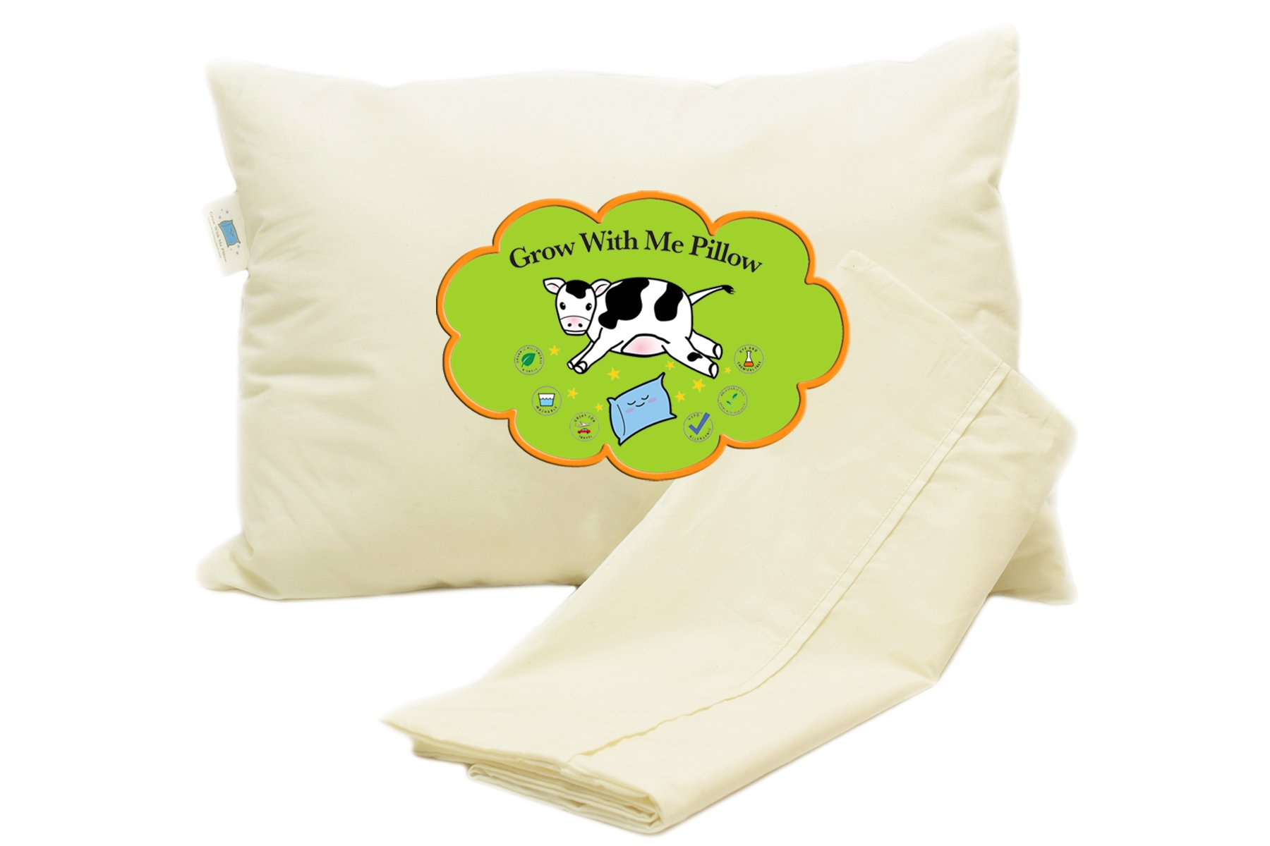 Grow With Me Pillow Adjustable Comfort Sleep System Adjustable Fill Delivers Personalized Comfort Making This The Best Toddler Pillow! Certified Organic. Chemical Free. Includes Pillow Case. 14x19
