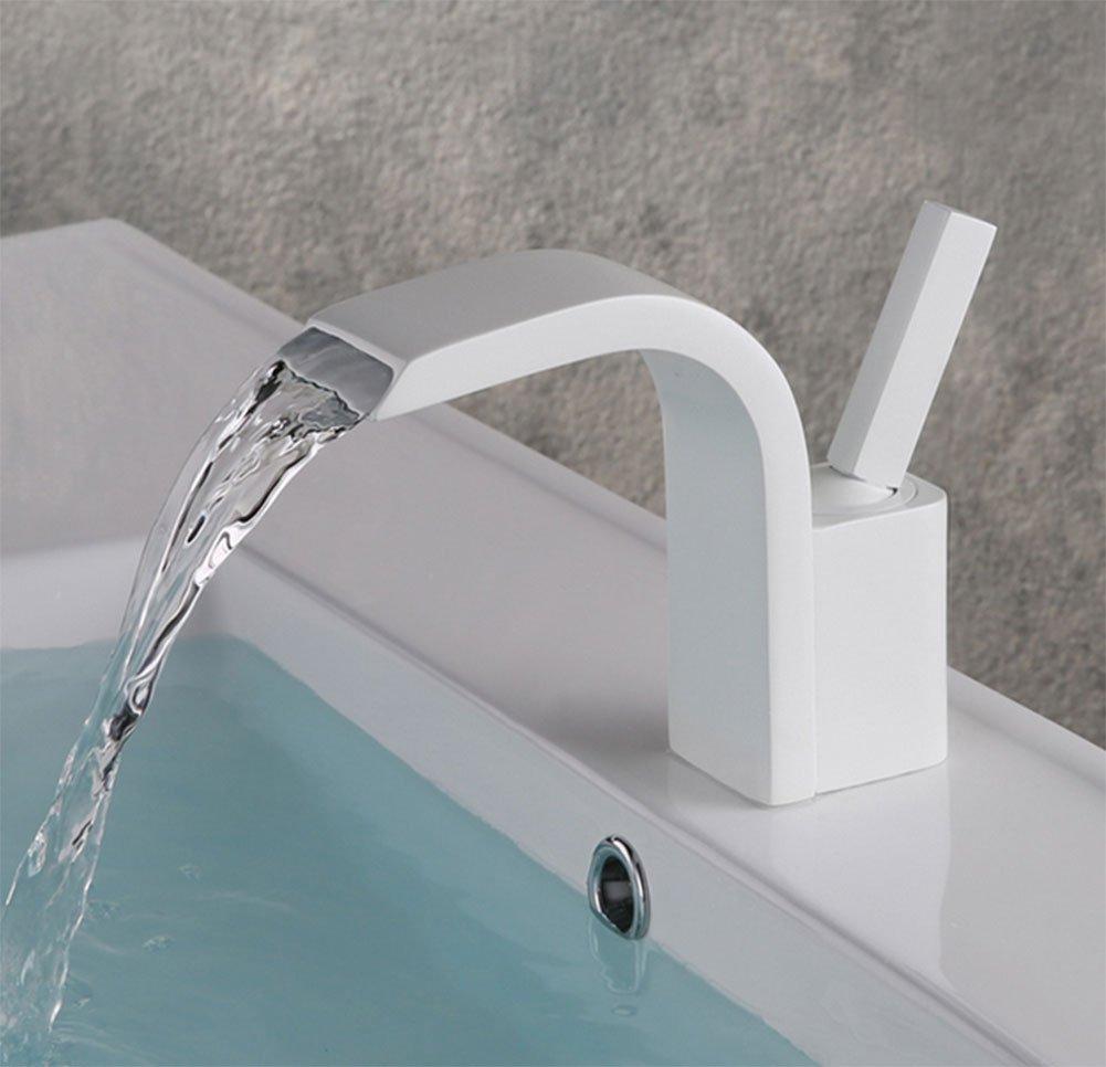 LQY Europäische Art Heißer und Kalter Hahn-Badezimmer-Wasserfall-Hahn,Weiß