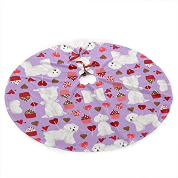 Amazon Com Qiffan2 Bichon Frise Valentines Day Christmas Tree Skirt