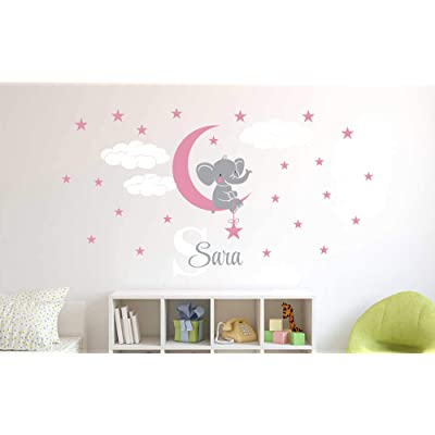 "Custom Name & Initial Elephant Stars and Clouds - Prime Series - Baby Girl - Nursery Wall Decal for Baby Room Decorations - Mural Wall Decal Sticker for Home Children's Bedroom (Wide 34""x18"" Height): Baby"