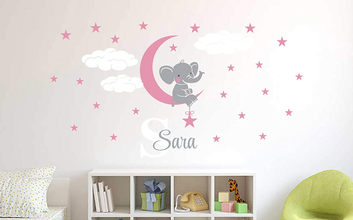 "Custom Name & Initial Elephant Stars and Clouds - Prime Series - Baby Girl - Nursery Wall Decal for Baby Room Decorations - Mural Wall Decal Sticker for Home Children's Bedroom (Wide 34""x18"" Height)"