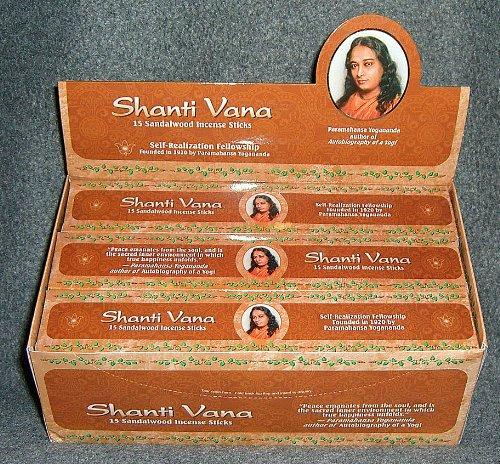 Shanti Vana Sandalwood Incense Sticks - 12 Boxes of 15 Sticks Each (Incense Shanti)