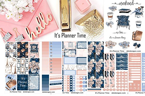 Its Planner Time, Planner Sticker Kit 6 sheets on matte. Erin Condren Life Planner or Happy Planner Create 365 sizes available. Kiss cut, just peel and stick.