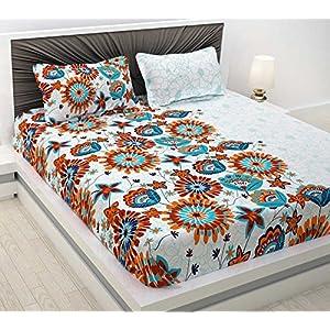 Divine Casa Evan 144 TC Cotton Double Bedsheet with 2 Pillow Covers – Floral, Blue and Orange