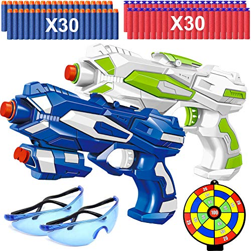 2 Pack Blaster Guns, Toy Guns for Boys with Shooting Target, 60 Soft Foam Refill Darts and 2 Safety Goggles, Dart Guns Pistol Hand Gun Toys for 4 5 6 7 Year Old Boy Kids Birthday Party