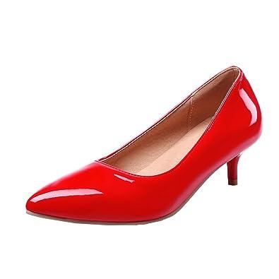 UH Damen Kitten Heels Lackleder Spitze Pumps mit 6cm Absatz Ohne Plateau Kleid Elegante Schuhe