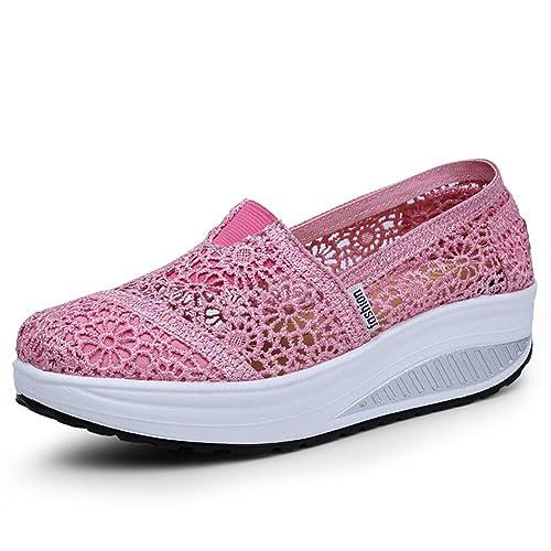 f6f2f5a5202fb Respirant Lace Shake Chaussures Femmes Chaussures 2018 Printemps Et Été  Femme Net Chaussures Femme Bouche Peu