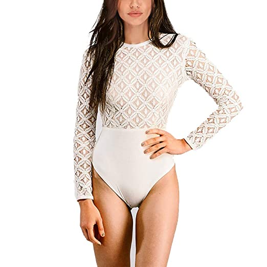 579767b01b2 Women Fashion Sexy Long Sleeve Fit Lace Stitching Jumpsuit Bodysuit White