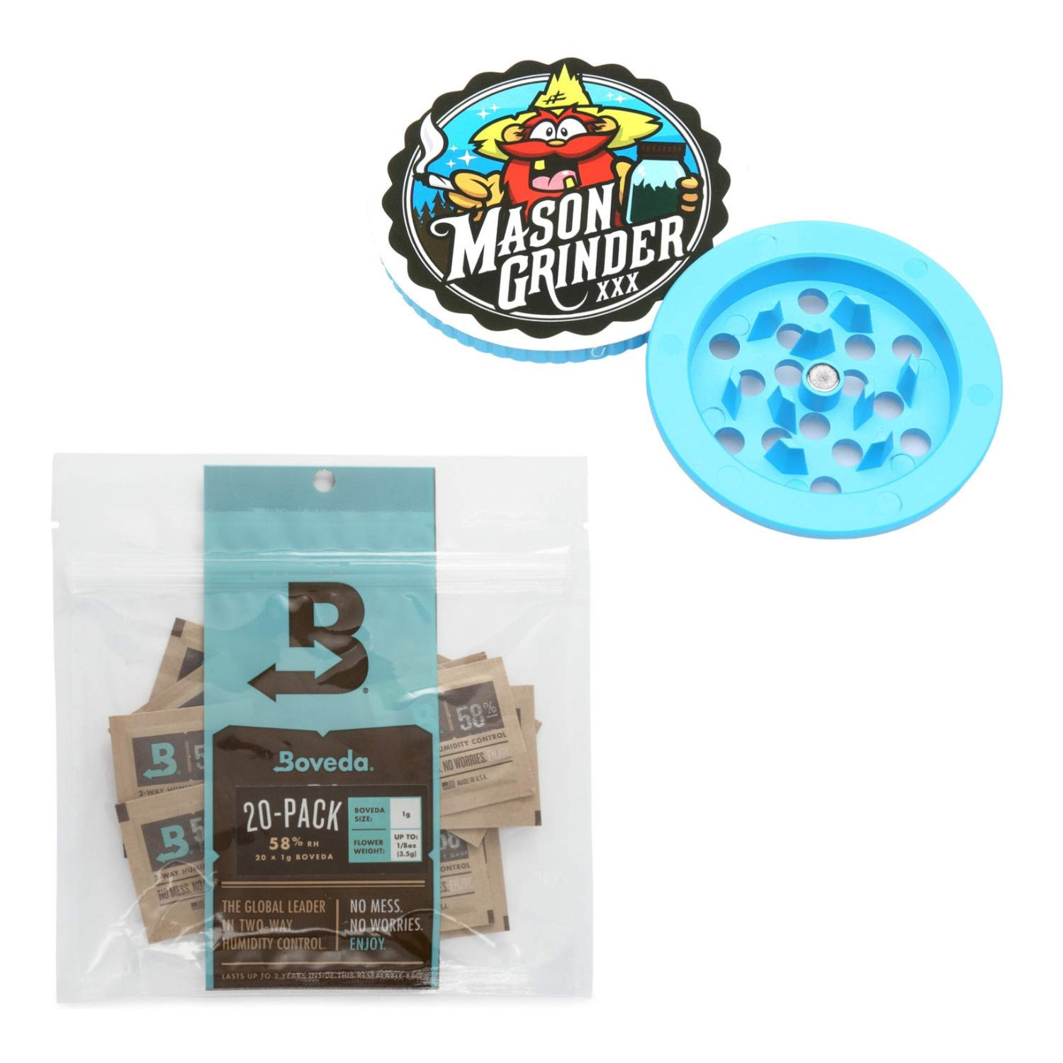 Mason Grinder (Small Mouth W/Holes) & 20 pack of Boveda 1g 58% RH Humidity Pack