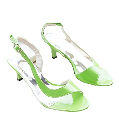 cf5f2ce14b6 Summer Ladies Sandals Transparent Neon Low Heels Shoes High Heels Yellow  Size 11 12 46