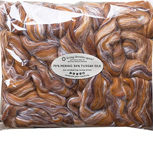 Silk Merino Fiber for Spinning. Super Soft Combed Top Wool Roving for Hand Spinning, Wet Felting, Nuno Felting, Needle Felting, Soap Making, Paper Making and Embellishments. Eye of The Tiger