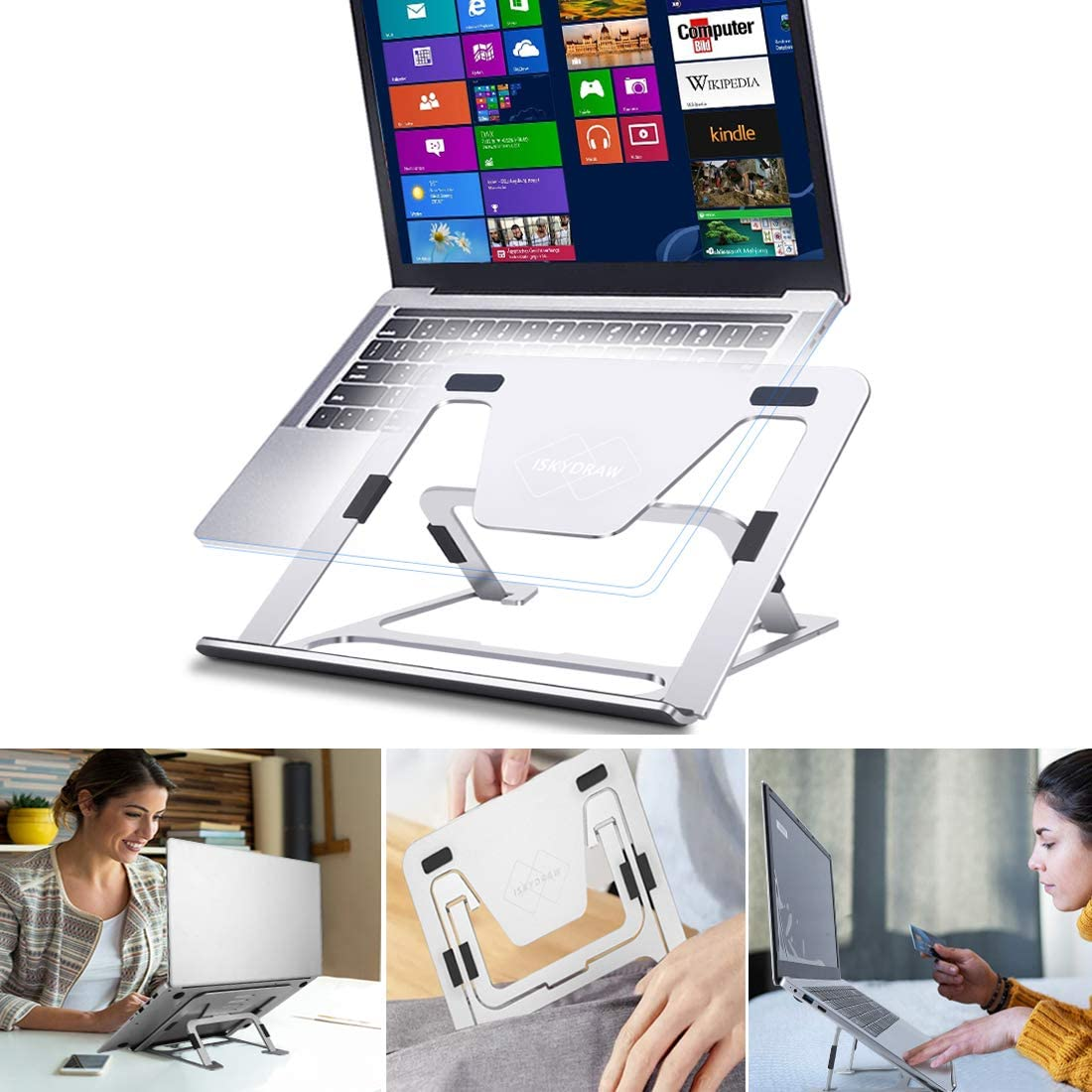 Laptop Stand, Upgraded Adjustable Computer Notebook Stand Laptop Riser for Desk, Ergonomic Aluminum Foldable Portable Desktop Tablet Holder, Compatible with MacBook, iPad, Dell, HP, Lenovo (11-17'')
