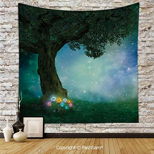 Tapestry Wall Hanging Fairytale Little Red Riding Hood Forest at Night with Flowers and Stars Image Tapestries Dorm Living Room Bedroom(W59xL78) ()