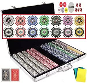 1000 11.5 Gram Clay Composite Dollar Suite Chipset with Dice, Dealer Buttons, Playing Cards and Cut Cards