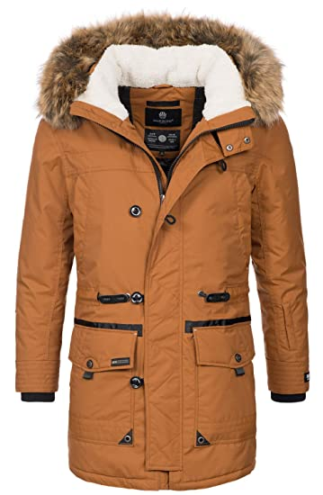 Marikoo Herren Winterjacke Kapuze Kunstfell Winter Jacke Parka warm lang B629
