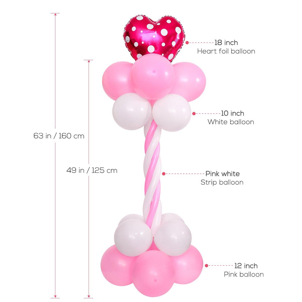 TOYMYTOY 2 Sets Balloon Arch 63 pulgadas de altura con la bomba de globo e instrucción Balloon Portable Columna base y decoración del globo de poste para la ...