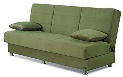 BEYAN Atlanta Collection Armless Modern Convertible Sofa Bed with Storage  Space, Includes 2 Pillows, Green