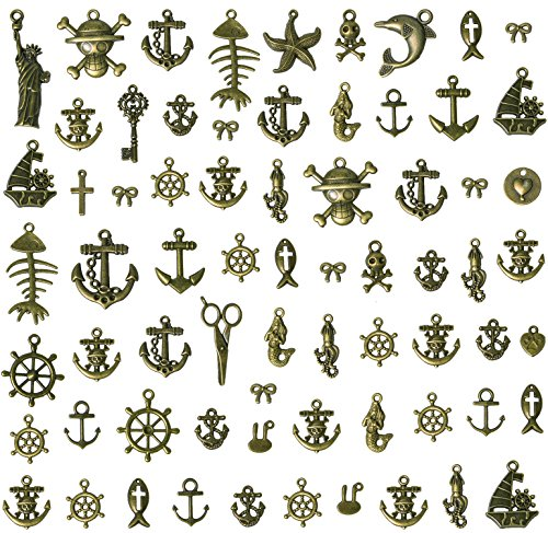 Korlon 100 Grams Antique Bronze Anchor Charm Nautical Rudder Charms Pendants Steampunk Charm for Sailor Navy DIY and Jewelry Making
