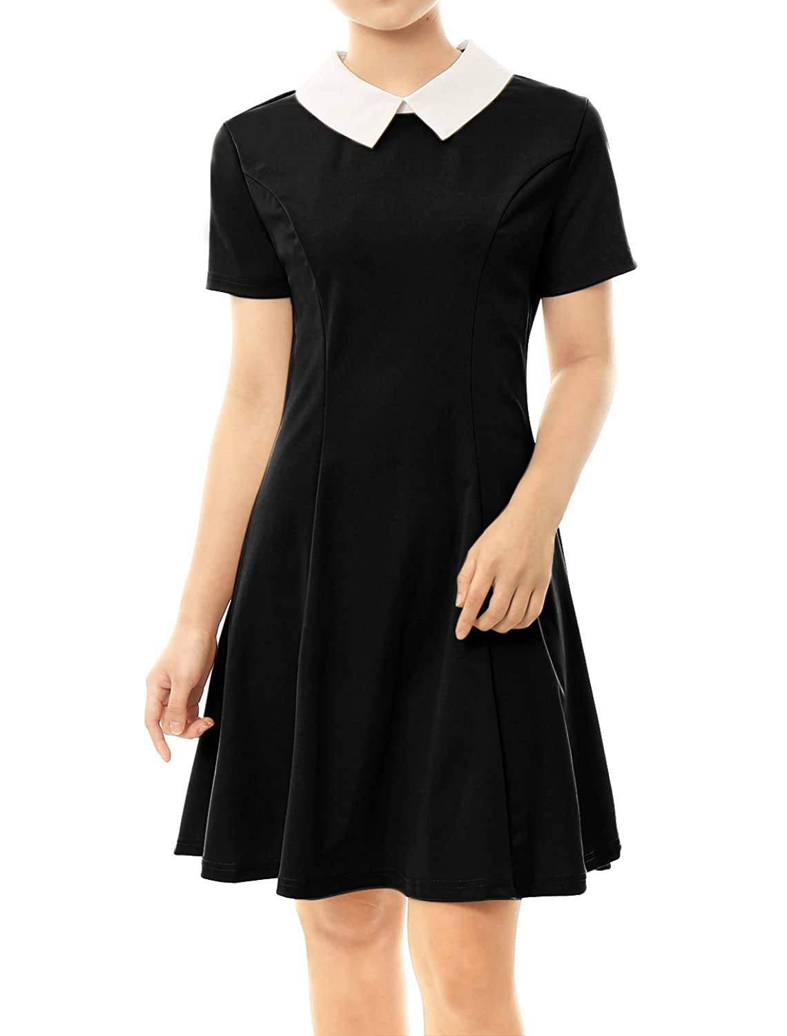 Black dress with white peter pan collar - Amazon Com Allegra K Women S Contrast Doll Collar Short Sleeves Above Knee Flare Dress Clothing