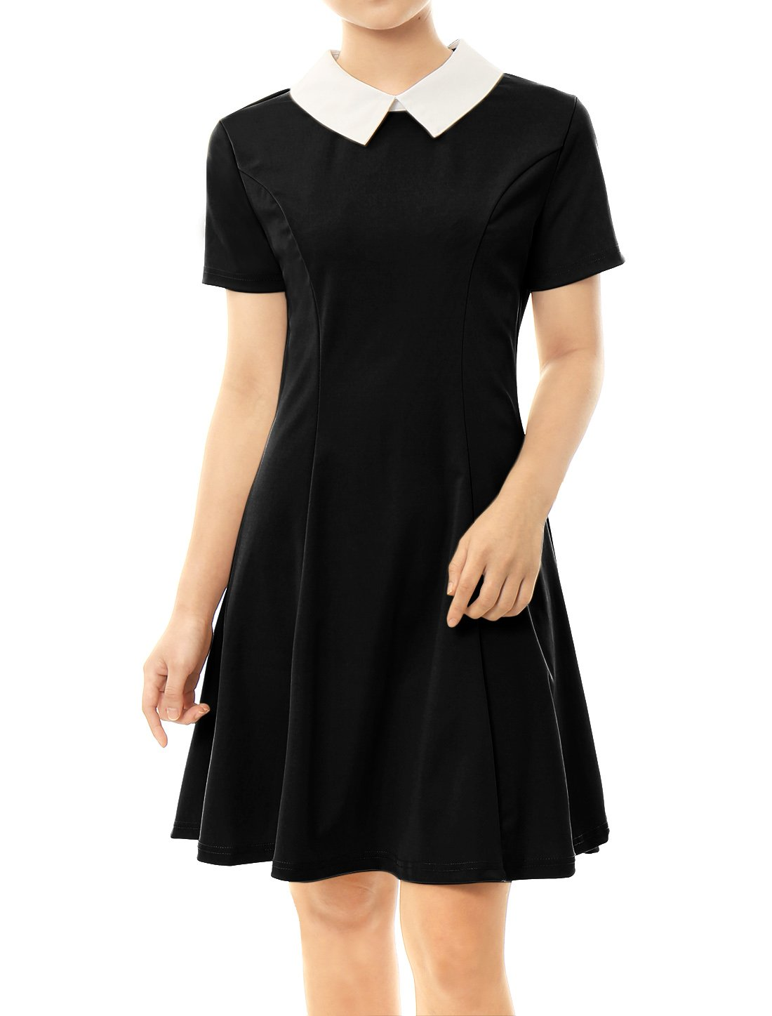 Allegra K Women's Peter Pan Collar Short Sleeves Skater Dress XS Black