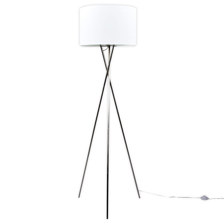 Lampenwelt Dreibein Stehlampe 'Fiby' (Modern) in Weiß aus Textil u.a. für Wohnzimmer & Esszimmer (1 flammig, E27, A++) | Stehleuchte, Floor Lamp, Standleuchte, Wohnzimmerlampe, Tripod, Wohnzimmerlampe