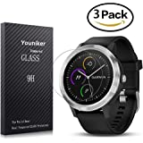 Youniker 3 Pack Garmin Vivoactive 3 Screen Protector Tempered Glass,Garmin Vivoactive 3 Screen Protector Foils Glass 9H Hardness 0.3MM Slim,Anti-Scratch, Anti-Fingerprint,Bubble Free