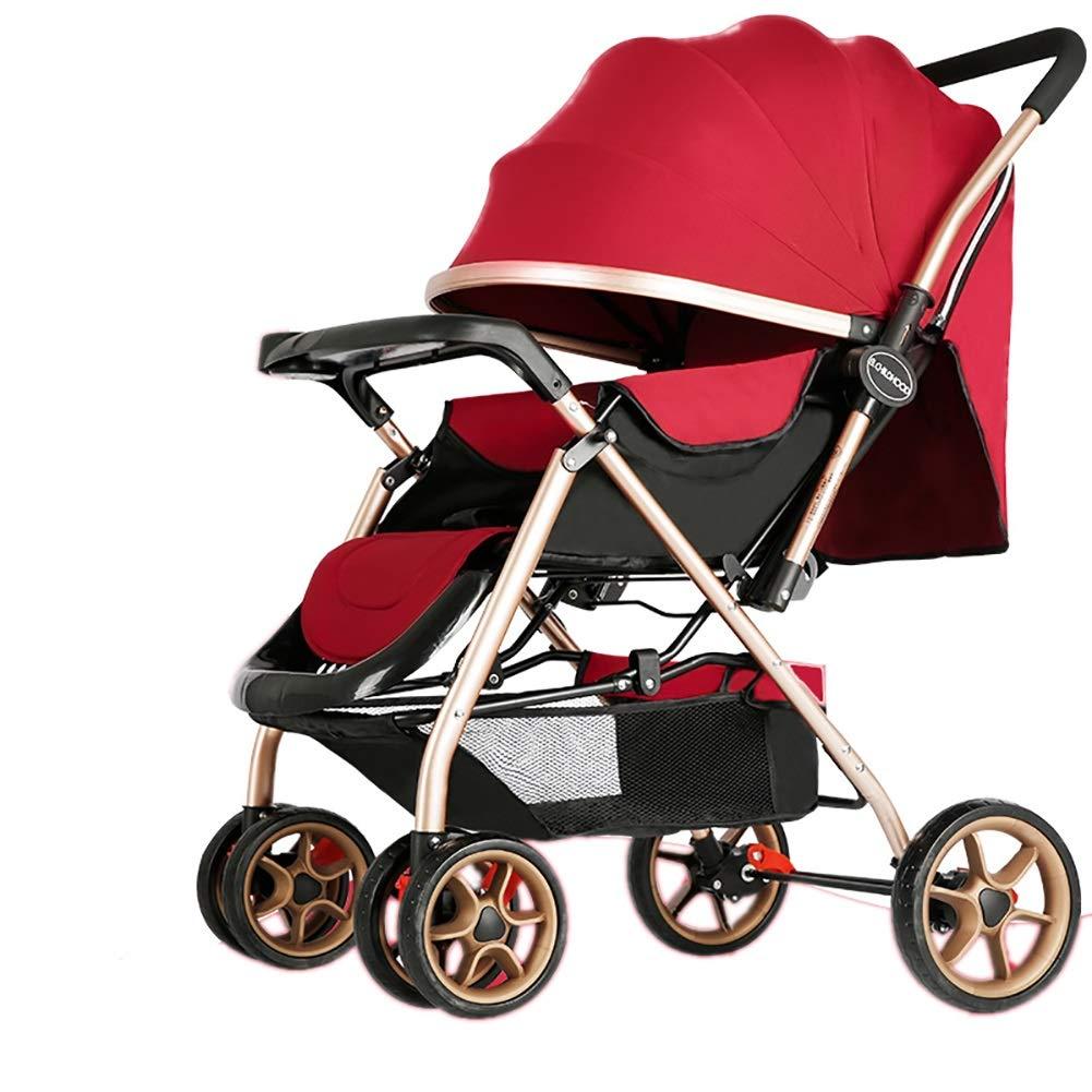 Mariny 赤ちゃんのベビーカー軽量のポータブル高地は、座って、折り畳み式のシンプルなハンドルを可逆的なサスペンション新生児のバギーのトロリー (色 : 赤)   B07RBMJNCH