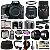 Nikon D5500 Digital Camera with 18-55mm Lens (1546) + 70-300mm DG Lens + 128GB Memory + (2) Batteries + Charger + Video Light + Monopod + Backpack + Case + 3 Filters + 2.2x Telephoto + Action Grip