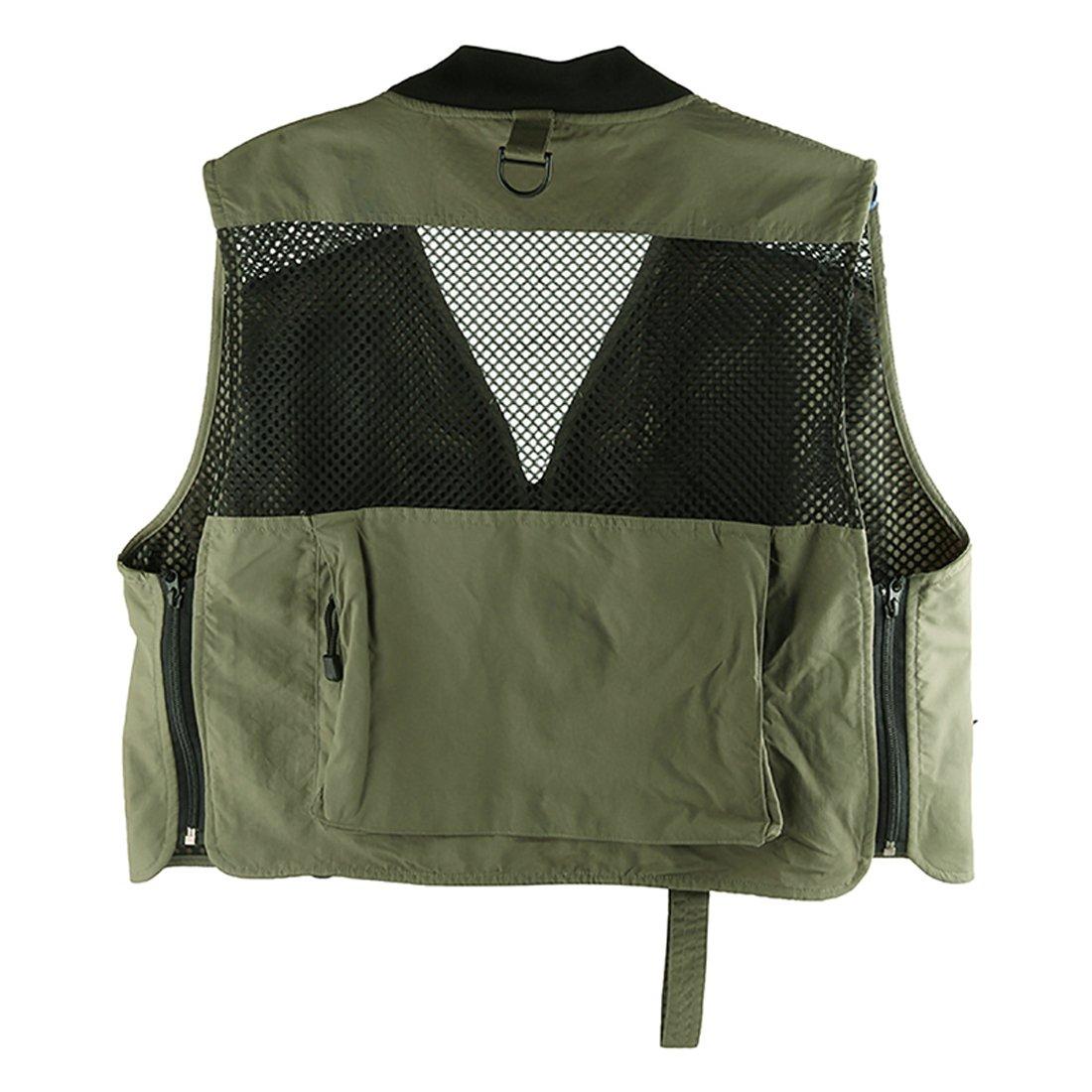 Andux Multi-Fonctionnelle Fly Fishing Vest Vest ext/érieure Multi-Poches /à s/échage Rapide Mesh Vest DYMJ-02