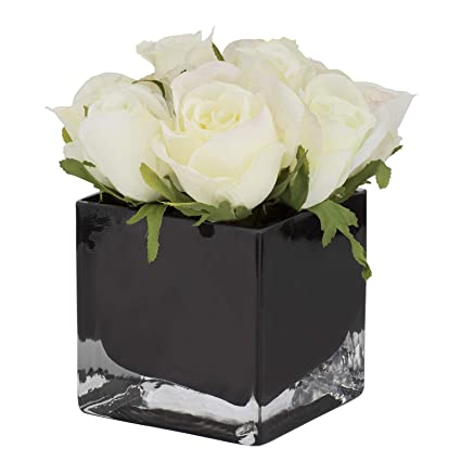 Amazon Aufora Potted Artificial White Roses In Black Vase
