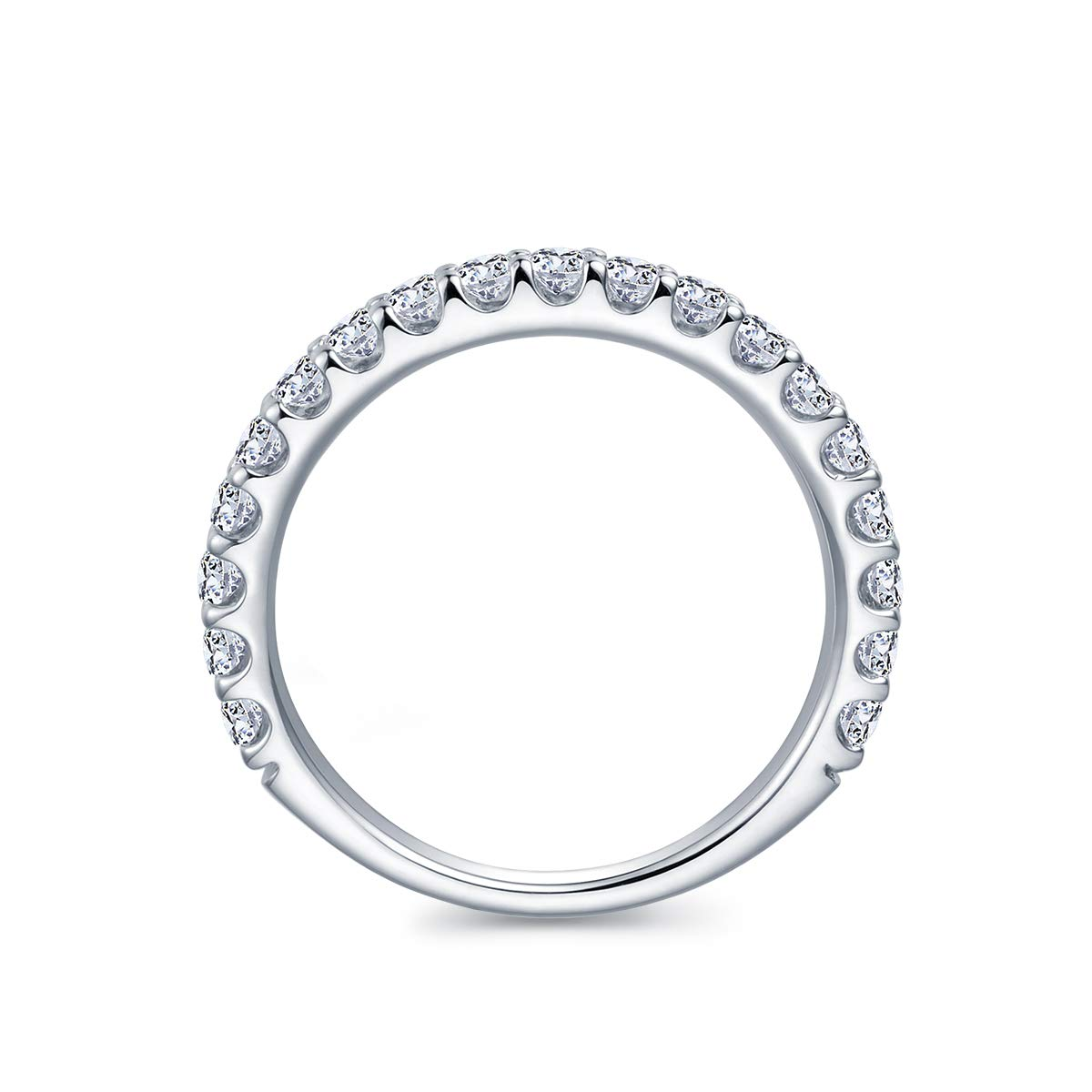3mm Rhodium Plated Sterling Silver Simulated Diamond Cubic Zirconia CZ Half Eternity Wedding Ring (9) by Hafeez Center (Image #3)