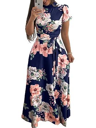 19385303f7d0 Amazon.com: Aublary Women's Floral Maxi Dress 3/4 Sleeve Faux Wrap ...