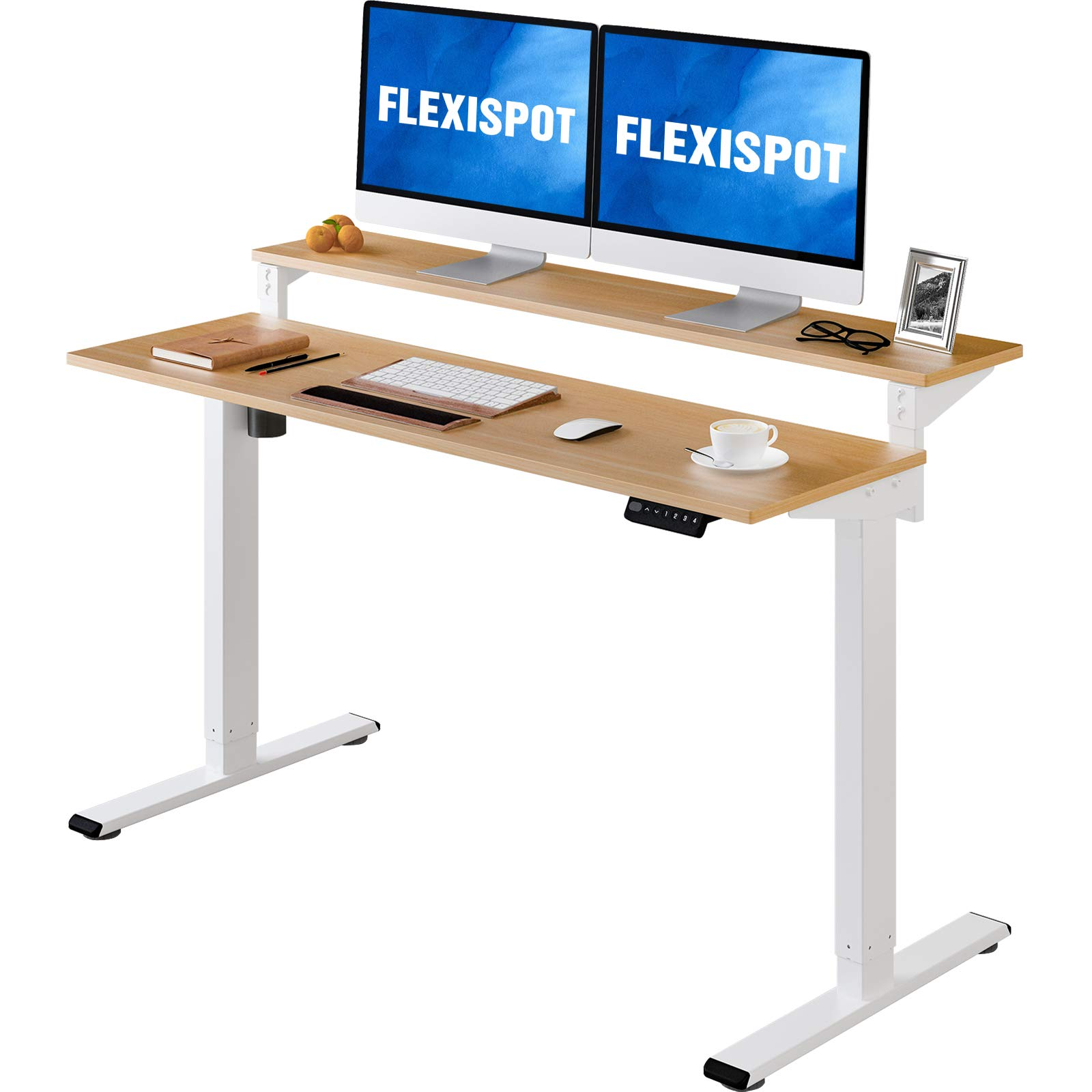 Flexispot Vici EF1 2 Tier Standing Desk 55 in Electric Height Adjustable Computer Desk with Adjustable Shelf Dual Tier Stand Up Desk Memory Controller for Home Office (White Frame + Natural Top)