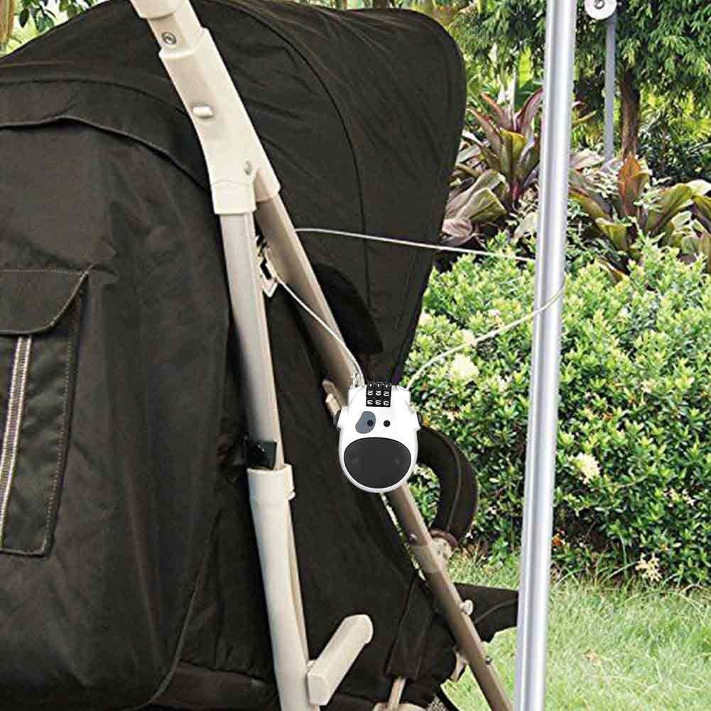 forma de vaquilla silla de paseo Plata cerradura de seguridad personalizada para maleta cable extensible de 80 cm Candado con candado de combinaci/ón Candado con c/ódigo num/érico de 3 d/ígitos