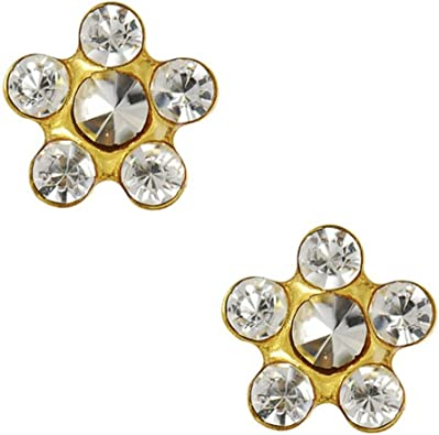 Studex Tiny Tips Rainbow Crystal 5mm Daisy Stainless Steel Childrens Hypo-allergenic Stud Earrings