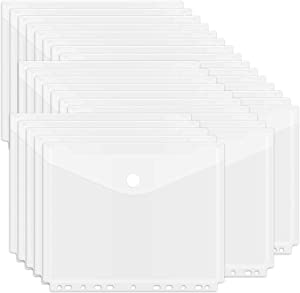 EOOUT 30 Pack Poly Binder Pocket, 11 Holes Clear Poly Binder Envelope with Hook and Loop Closure, Plastic Binder Pockets for School and Office Supplies, Letter Size