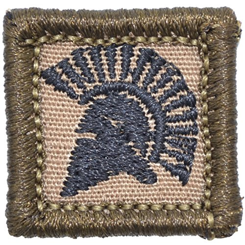 - Spartan Head 1x1 inch Morale Patch - Multiple Colors (Coyote Brown w/Black)