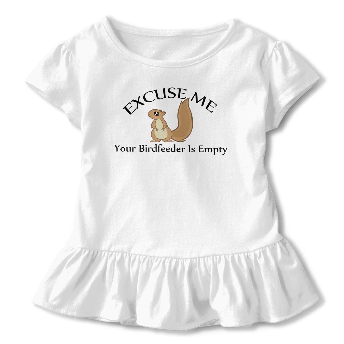 HYBDX9T Little Girls Excuse Me Your Birdfeeder is Empty Funny Short Sleeve Cotton T Shirts Basic Tops Tee Clothes