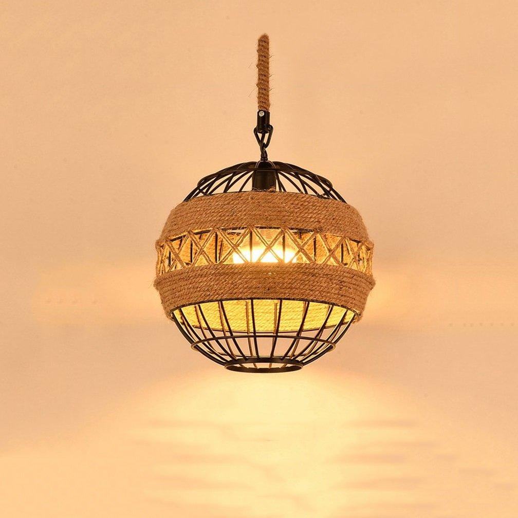 Loft Hemp Pendant Lamp Vintage Industrial Orb Chandelier Restaurant