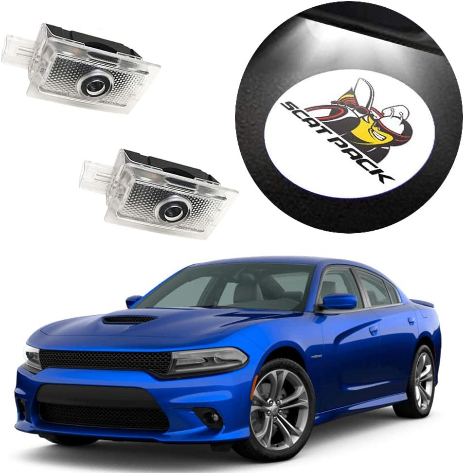 LED Courtesy Step Lights Ground Lamp Kit Replacement 2 Pack Entry Welcome Lamp Logo Light CHANONE Car Door LED Logo for Dodge Projector Ghost Shadow Charger Magnum