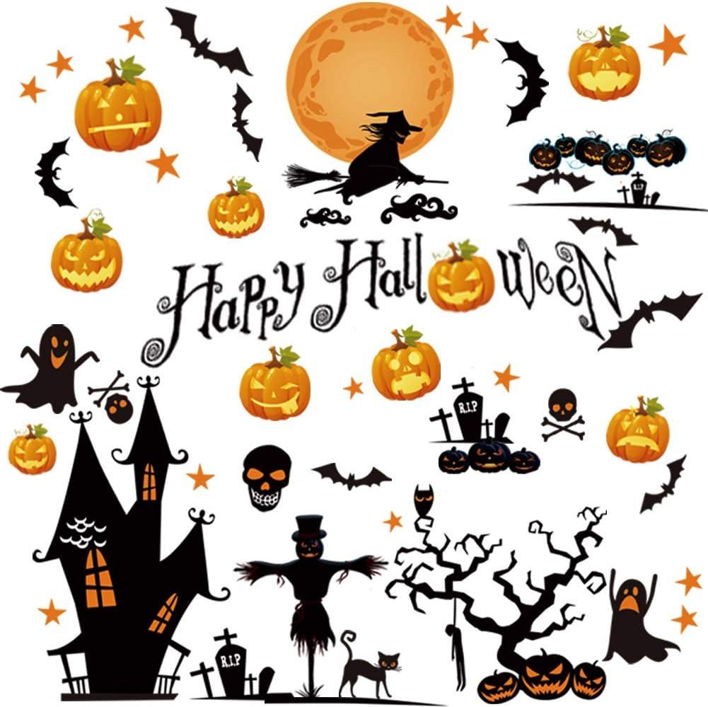 Halloween Stickers for Halloween Party Ecoolda Halloween Window Sticker Clings Pumpkin Bat and Black Cat for Kids Room 14Pcs