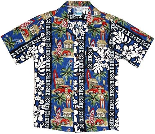 Surfboards Hawaiian Shirt (RJC Boy's Surfboard Woodie Hawaiian Shirt Navy Blue 6)