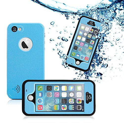 GEARONIC TM New 2016 Durable Waterproof Shockproof Snow DirtProof Fingerprint Scanner Full Case Cover For Apple iPhone SE 5 5S - Blue
