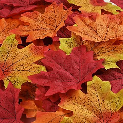 Hotop 150 Pieces Maple Leaves Artificial Maple Leaves Autumn Fall Maple Leaf for Art Scrapbooking Wedding House Decorations Christmas Party or Thanksgiving Day Decor -