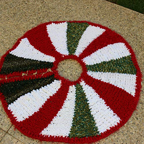 Christmas Tree Skirt Pattern.Amazon Com Chunky Knit Tree Skirt Colorful Christmas Tree