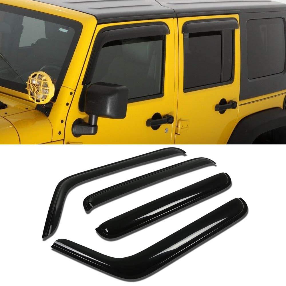 4PCS For 07-18 Jeep Wrangler JK 4-Door Sun Rain Guards Window Visors Deflectors