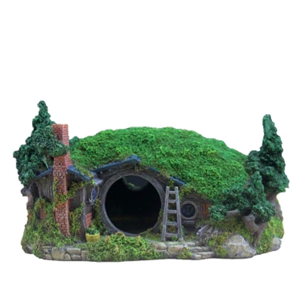 HR Hobbit House Dodge House Creative Fish Tank Rockery Aquarium Decoration Landscaping Castle Small House Small Bridge Fake Water Grass Creative Ornaments
