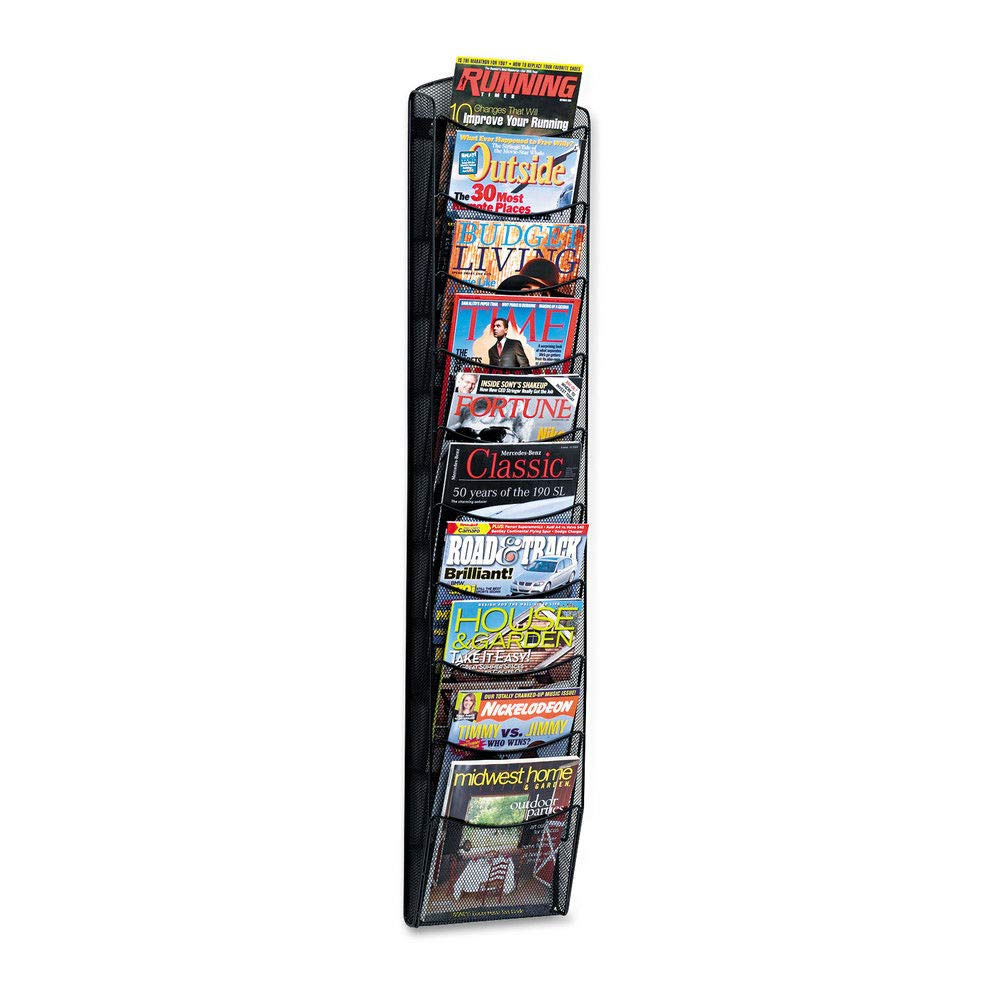 Black Powder Coat Finish Durable Commercial-Steel Construction Safco Products Onyx 5 Pocket Magazine Rack 5578BL