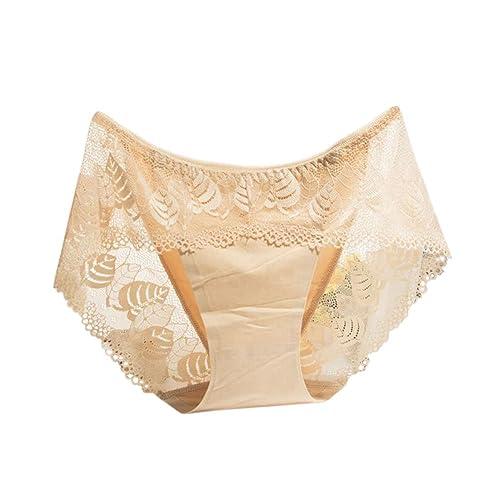 Zhuhaixmy Mujer Ladies Encaje Seda Sin Costura Ropa interior Cintura alta Respirable Bragas Panties